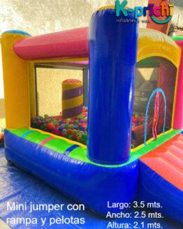 mini brincolín con rampa y pelotas, inflables df, k-prichi