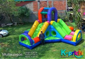 multijuego inflable con resbaladilla, renta de inflable para fiesta de niños en jardín, k-prichi