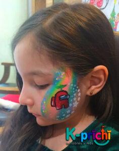 servicio de pintacaritas, tattoos de diamantina, fiestas infantiles, cdmx, among us, pintacaritas