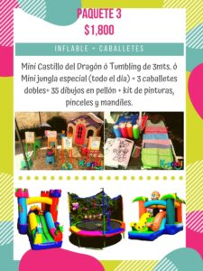 alquiler de inflable, renta de caballetes para pintar df, mini castillo inflable, k-prichi