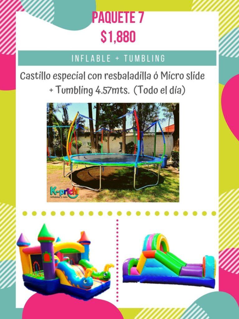 renta de tumbling, brincolin cdmx, renta inflable, castillo especial con resbaladilla o micro slide df, kprichi