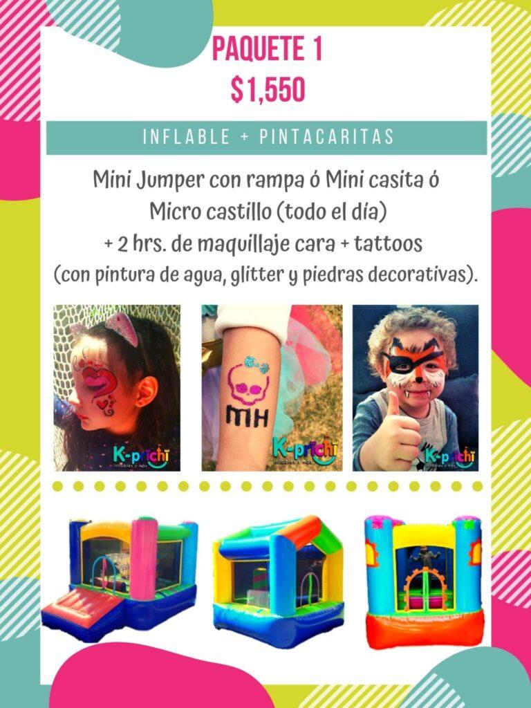 inflable a la renta, pinta caritas de niños cdmx, brazaletes decorativos, k-prichi, fiestas infantiles