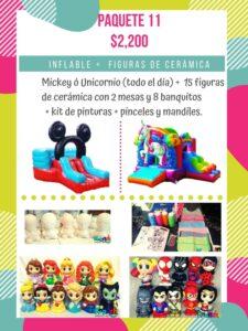 alquiler de inflable, renta de cerámica para pintar df, Mickey o Unicornio, k-prichi