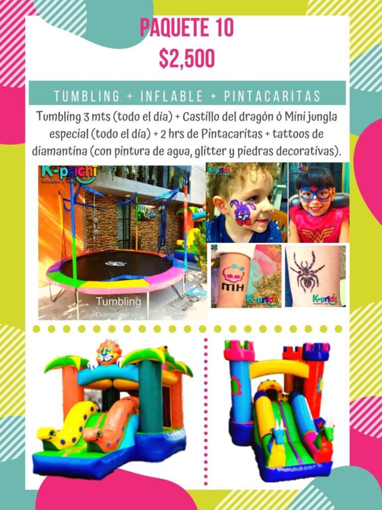 "Renta tumbling + ""Mini castillo del dragón"" o ""Mini jungla especial"" Pintacaritas para fiesta adultos o niños CDMX"