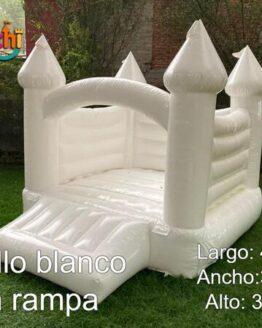 juego inflable blanco, brincolín blanco en forma de castillo, rentar inflables en cdmx, k-prichi